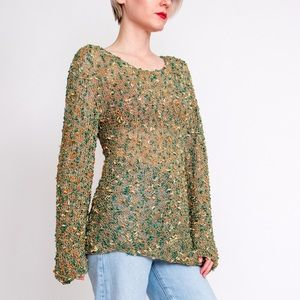 Vintage 90s moss green crochet knit bell sweater